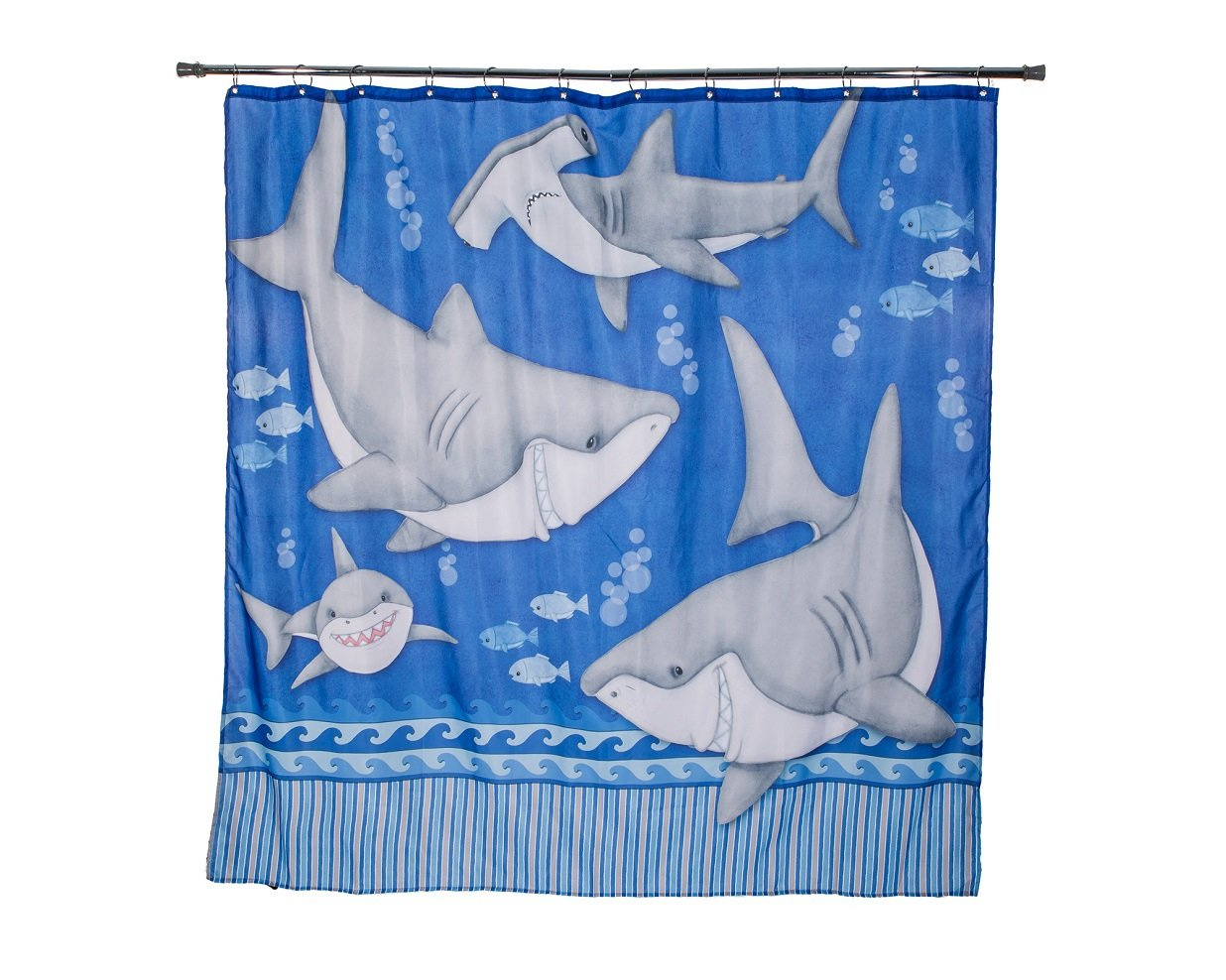 Borders Unlimited Fish 'N Sharks Under The Water Shower Curtains 70022