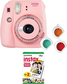 Fujifilm Instax Mini 9 Instant Film Camera Blush Pink With Clear Accents With Twin Film Pack Bundle 2 Items Baby Pink Camera Photo