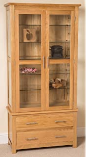 oslo solid oak and glass display cabinet 90 x 40 x 185 cm camberley oak 2 door