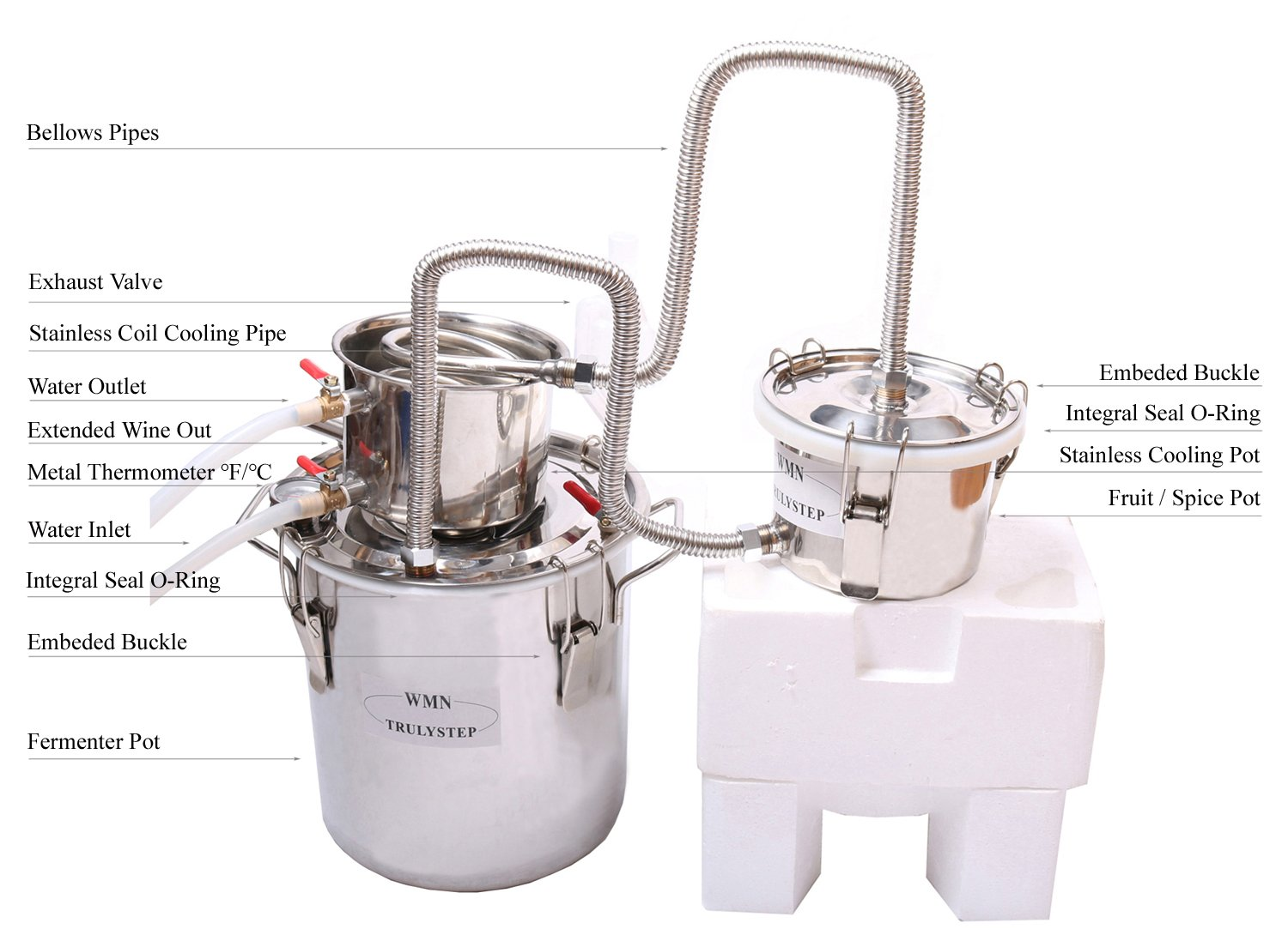New 3 Pots DIY 3 Gal 12 Litres Alcohol Moonshine Ethanol Still Spirits Stainless Steel Boiler Water Distiller Whiskey Wine Making Kit by WMN_TRULYSTEP (Image #2)