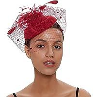 DRESHOW Fascinators Sombrero Tocados De Pinza Para El Pelo Cabeza De Mujer Novia Para Fiesta Boda Moderno Con Pluma…
