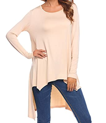 375e404c21c Image Unavailable. Image not available for. Color  Concep Women Casual High  Low Tunic Tops Long Sleeve Loose Basic Shirt Plus Size