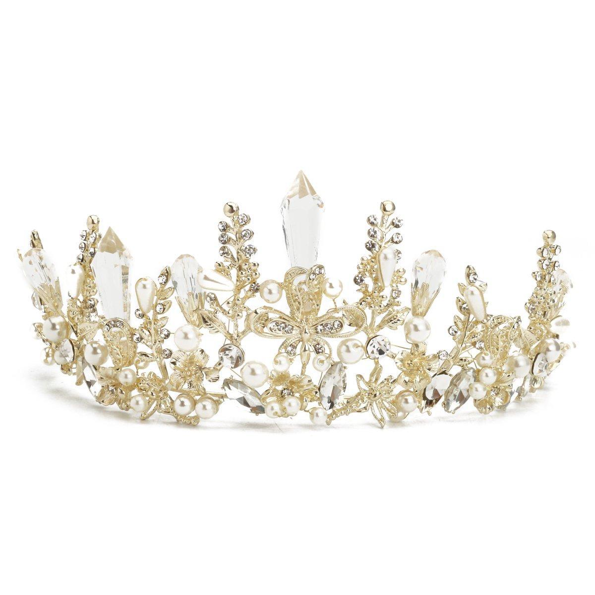 SODIAL Queen Baroque Bridal Wedding Gold Crystal Pearl Crown Tiara Headband Headpiece 147811