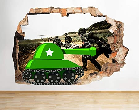 J133 Cartoon Army Tank Soldiers Window Wall Decal 3D Art Stickers