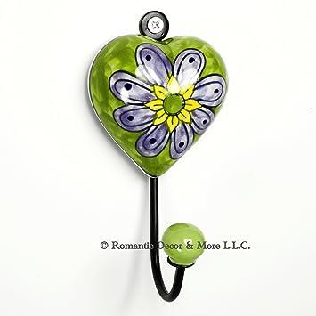 Green Heart Wall Hook, Ceramic Wall Decor, Coat, Key, Jewelry Hook ~