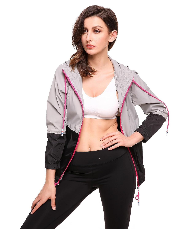 Meaneor Giacca Impermeabile Donna Sport Giacche Manica Lunga Vestiti Sportiva Nero
