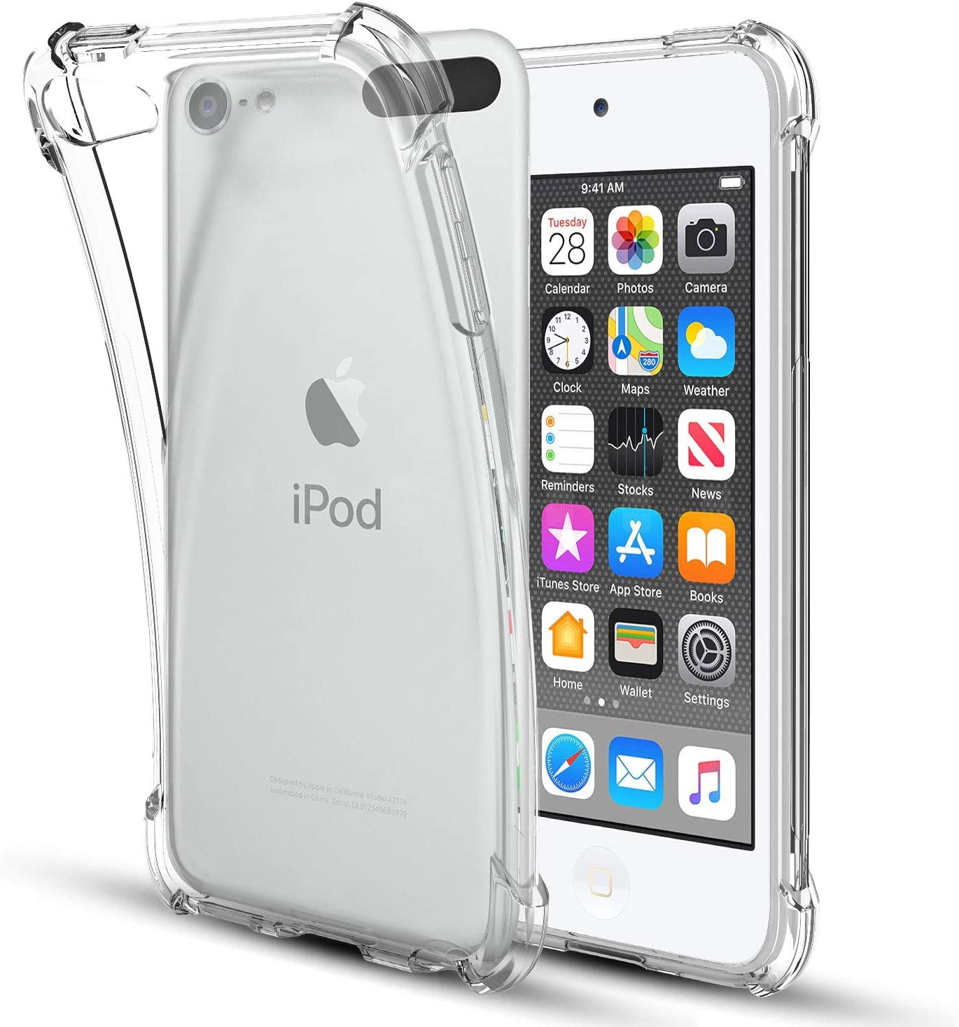iPod Touch(2019) Case,iPod Touch 7/6 / 5 Case,Four-Corner Clear Soft TPU Silicone Non-Slip Slim Shockproof Bumper Protective Phone Case Cover for Apple iPod Touch 7th/6th/5th Generation,Clear