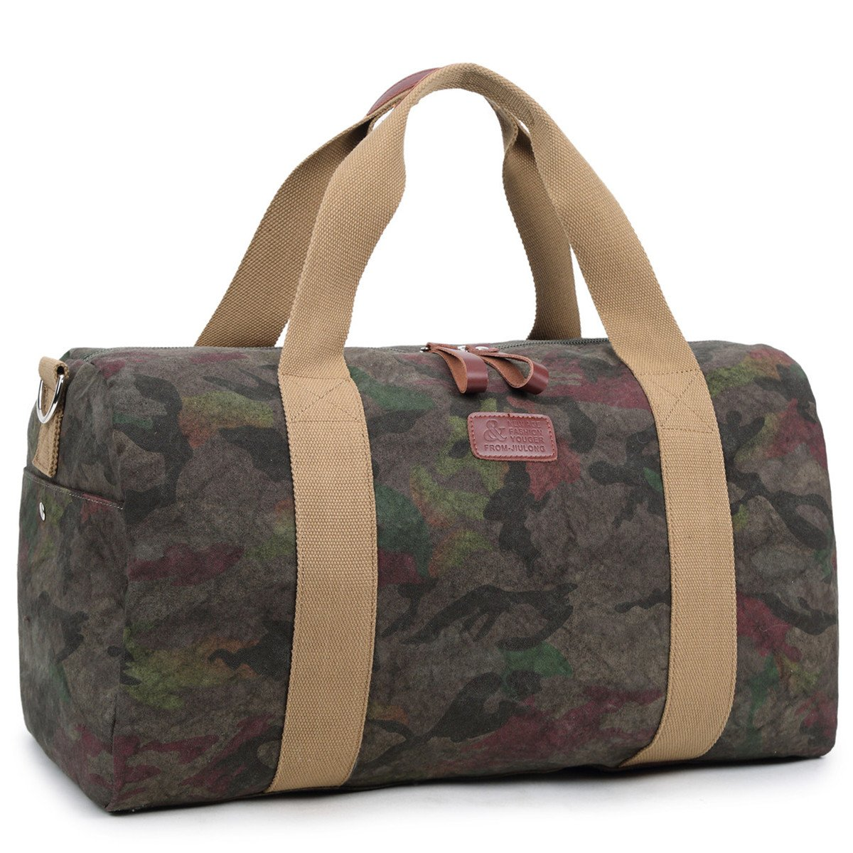Carry-on Weekender Travel bag Canvas Overnight Duffel Tote for Business Work Gym Day Trips (Camo)