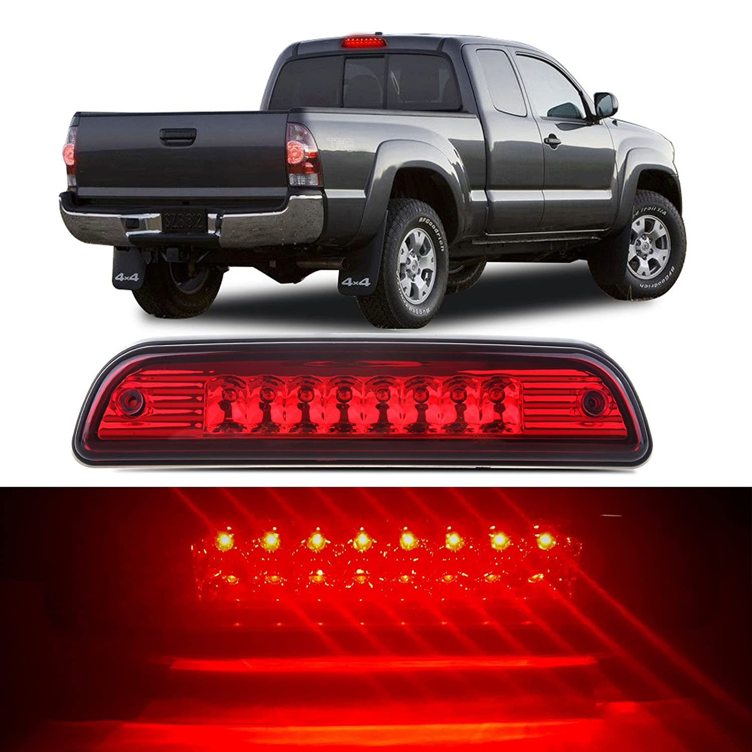 High Mount Stop Lights LED 3rd Red Brake Tail Light Replacement fit for 1995-2016 Toyota Tacoma Truck (Red) cciyu 121901-5210-1635181