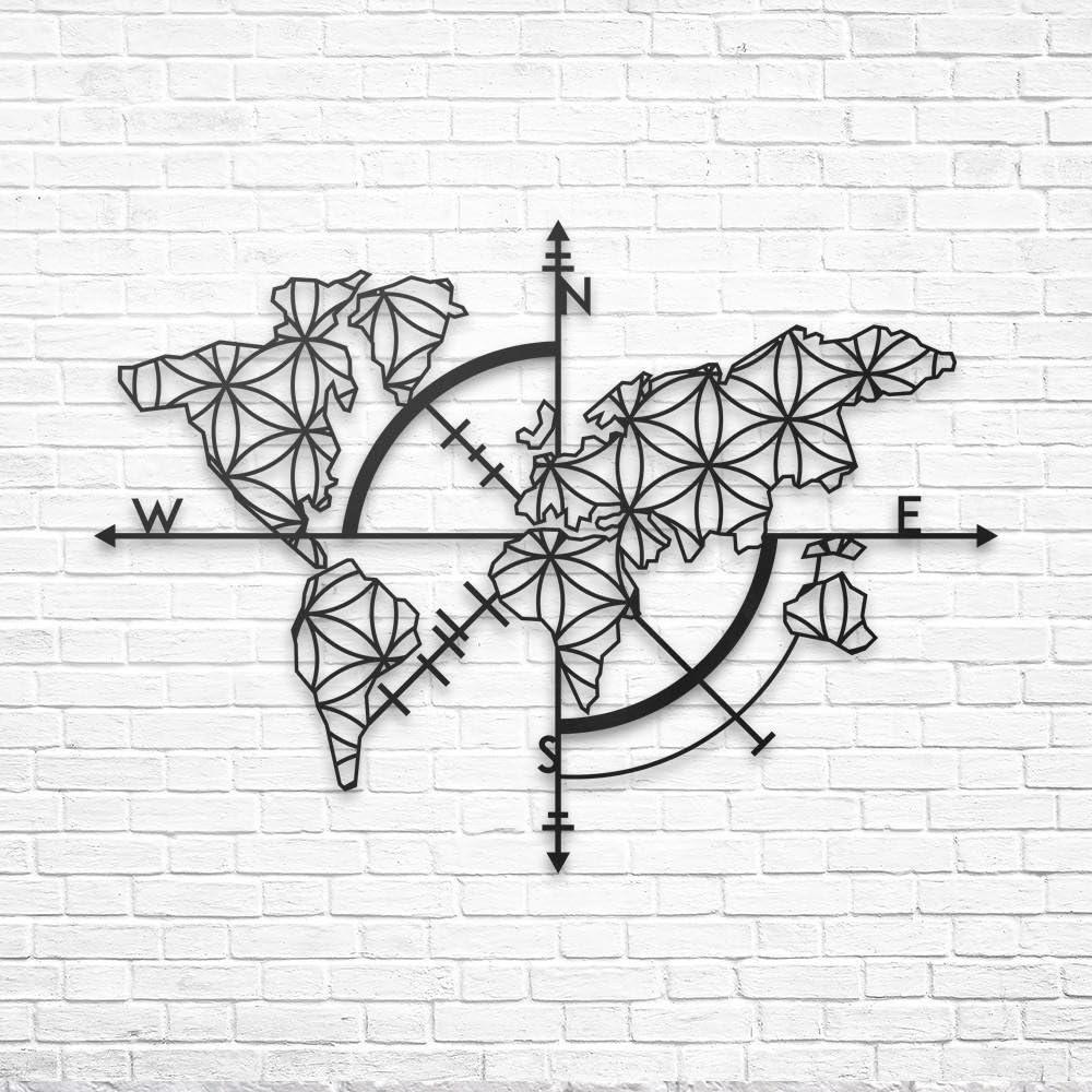 BAUPOR - Brújula de metal para pared con mapa del mundo, silueta de pared 3D, decoración de pared para el hogar, oficina, dormitorio, sala de estar, decoración, arte elegante (96 x 62 cm)