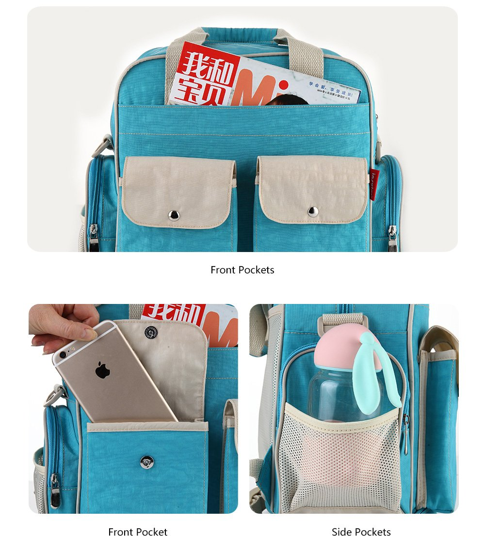 Diaper Bag Backpack with Insulated Pockets Multi-Function Waterproof Travel Nappy Changing Bags with Stroller Straps, Large Capacity, Stylish and Durable