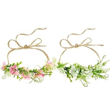 b539692ad 2 Pieces Tieback Flower Headband Boho Flower Crown Baby Girl Toddler Green  Leaf Floral Wreath