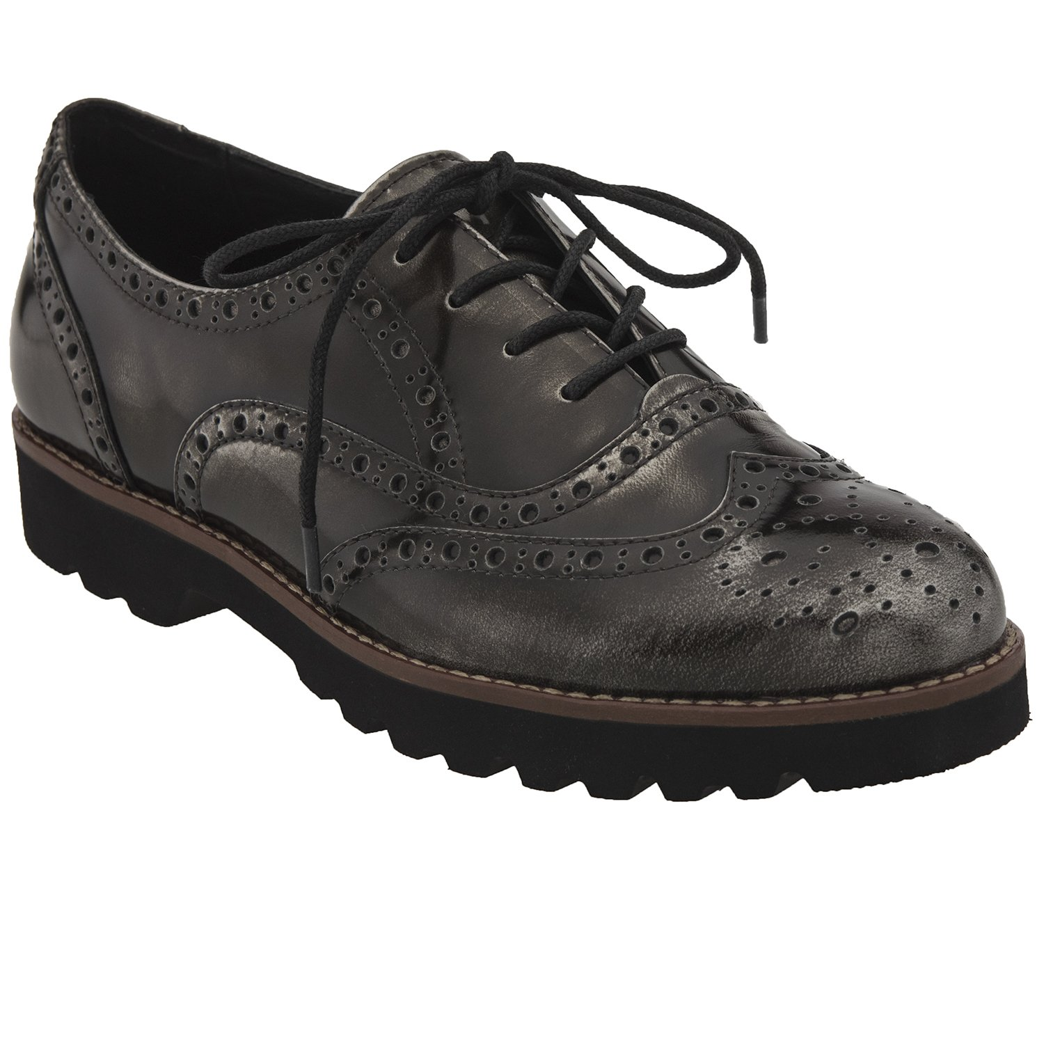 Earthies Women's Pewter Brush Off Leather Santana 8 Medium US