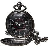 Montre de poche - SODIAL(R)retro Steampunk Noir romain numeraux Collier Quartz Pendentif Montre de poche Cadeau