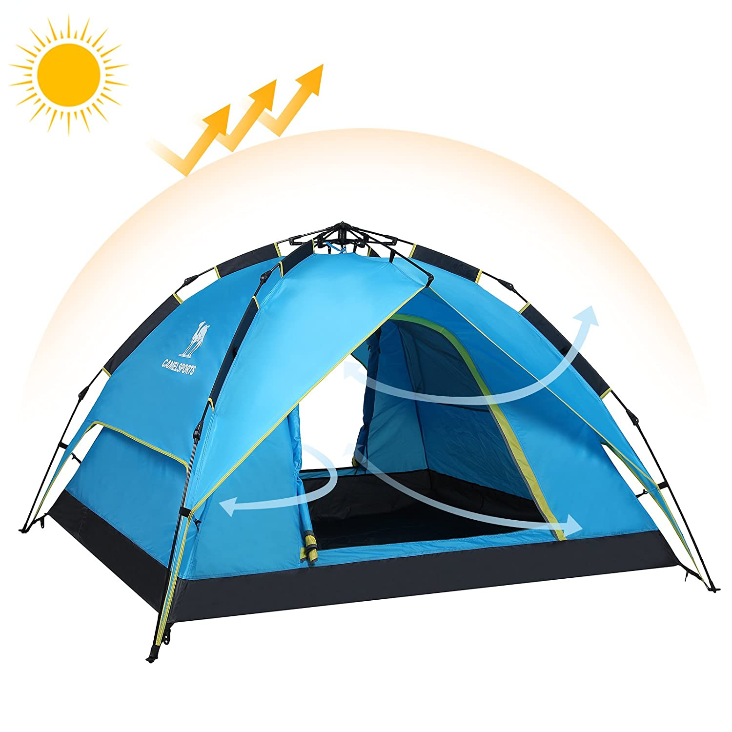 Camel Double Layer Shelter Waterproof Automatic Family Voucer 3second 30 Persen Tent For 2 3 Person Outdoor Hiking Camping Beach Blue Canopies Sports
