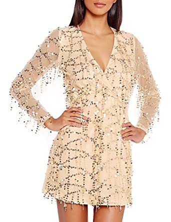 HaoDuoYi Womens Sparkly Sequin Mesh See Through Long Sleeve Bodycon Prom Dress(S,Gold