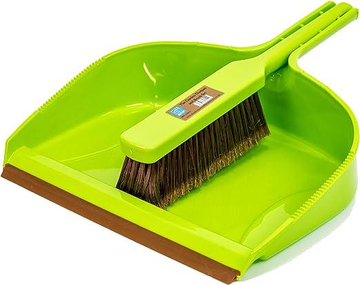 Juego de recogedor y cepillo de lujo para jardín, gran sartén resistente y cerdas medias a