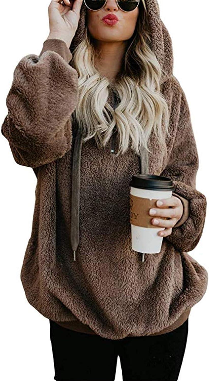 Womens 1//4 Zip Fleece Sherpa Winter Jacket Outwear Sweaters