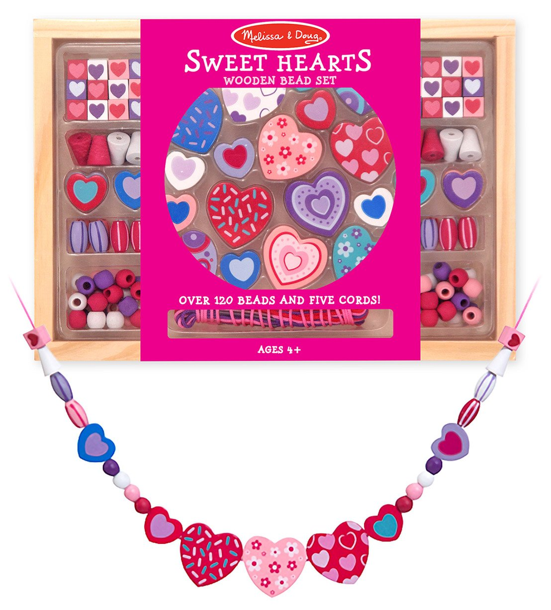 Melissa Doug Wooden 'Sweet Hearts' Bead Accessory Creation Set FREE Scratch Art Mini Pad Bundle 41751