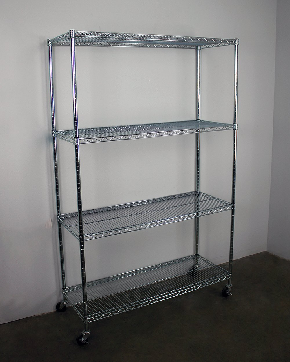 Amazon.com: SafeRacks NSF 4-Tier Wire Shelving Rack with Wheels - 18 ...