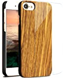 落ち着いた感じが持たれるiPhone7 ケース 木目 保護シート付き アイフォン7 対応高級感たっぷり天然木カバー 夏に一番相応しい手触り良いiPhone 7 ハードケース (Iphone7, ゼブラ木)