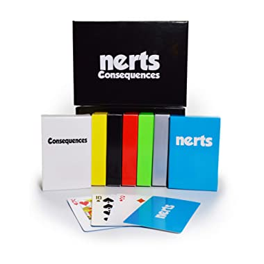 Dynasty Toys Nerts Card Game - 6 Colorful Decks of Standard Playing Cards - 50 Unique Consequence Cards - Travel Box Set