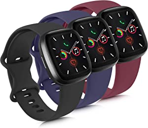 Mugust 3 Pack Sport Bands Compatible with Apple Watch Bands 38mm 42mm 40mm 44mm, Soft Silicone Replacement Strap for iWatch Series 5 4 3 2 1 (Black/Navy Blue/Wine Red, 38mm/40mm-S/M)