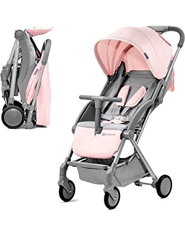 Kinderkraft Lightweight Stroller PILOT, Baby Pushchair, Buggy, Compact Folding, Ajustable Footrest, Lying Position, with Accessories, Rain Cover, Footmuff, from Birth to 3.5 Years, 0-15 kg, Pink