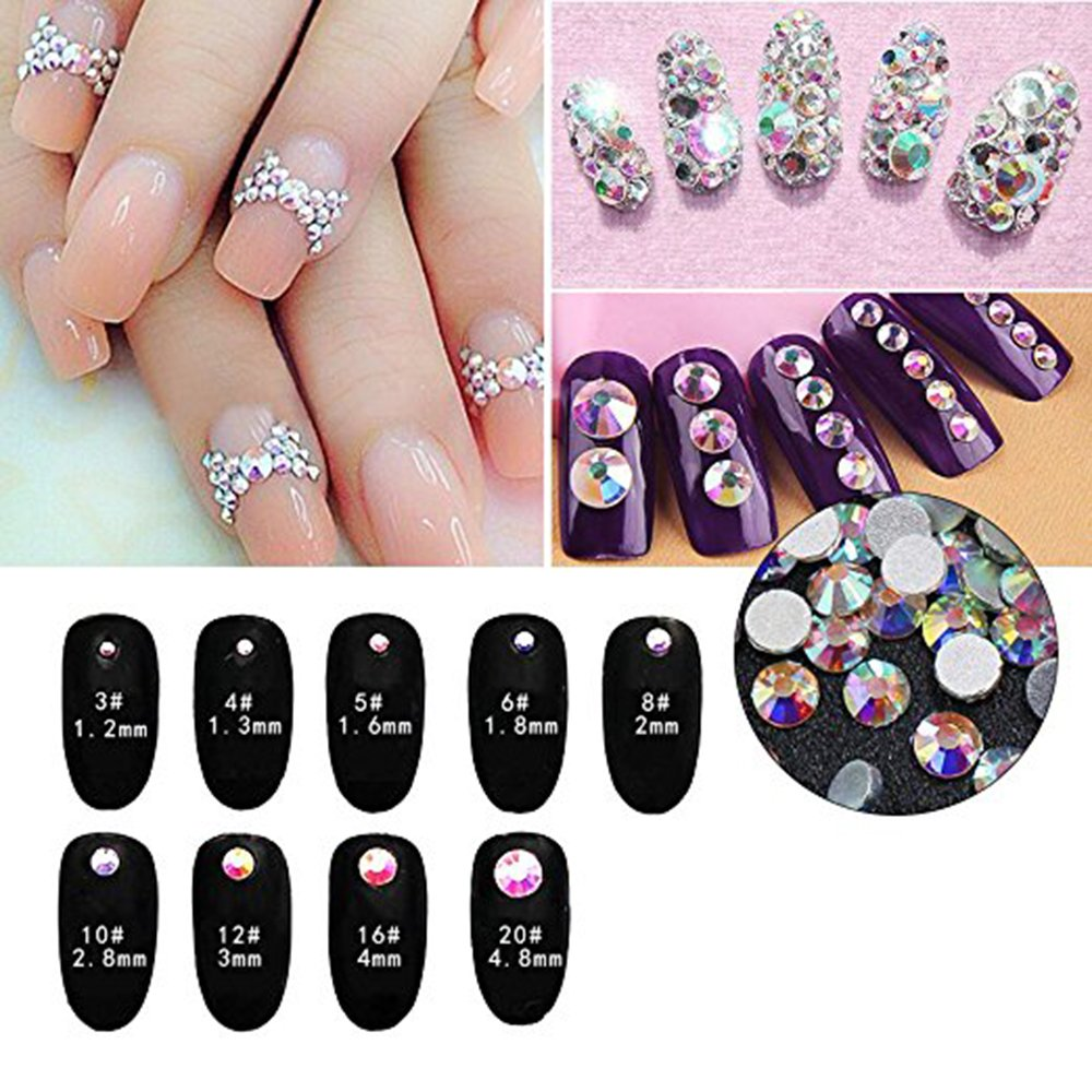 3b93162321 Amazon.com: Nail Art Rhinestone Ab White Crystal 1440pcs/bag Shining ...