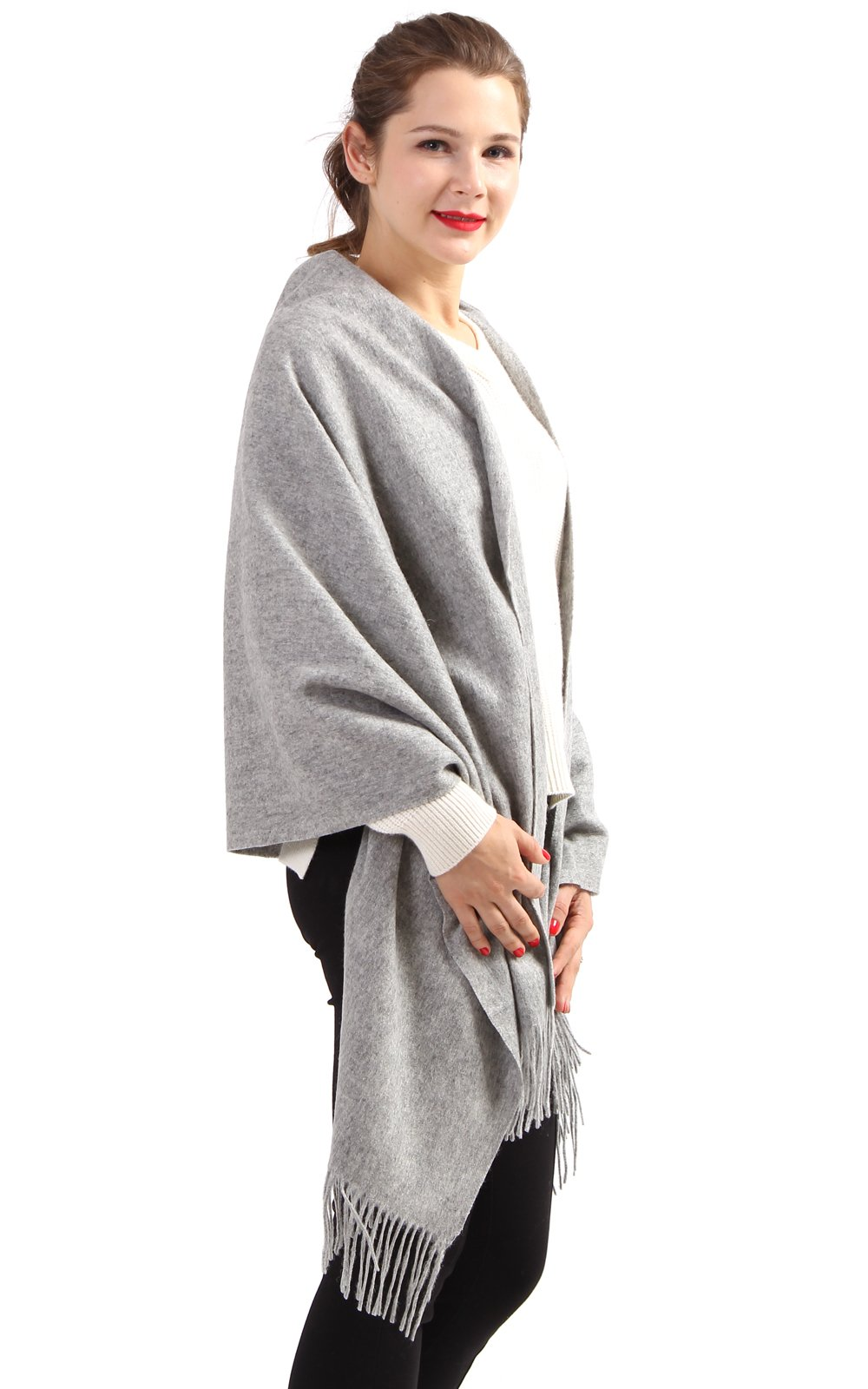 100% Cashmere Wrap Shawl Stole for Women, Guaranteed Quality Pure Cashmere, Super Soft and Warm Extra Large Scarf, Grey by KROWN CASHMERE