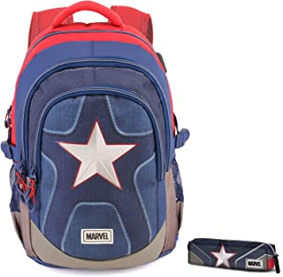 Zaino scuola advanced + astuccio Capitan America Marvel Suit tondo free time cartella borsa blu rosso