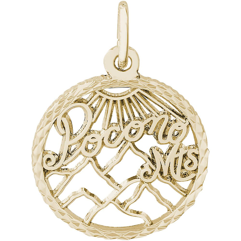 Rembrandt Charms 14K Yellow Gold Pocono Mt Charm (0.63 x 0.63 inches)