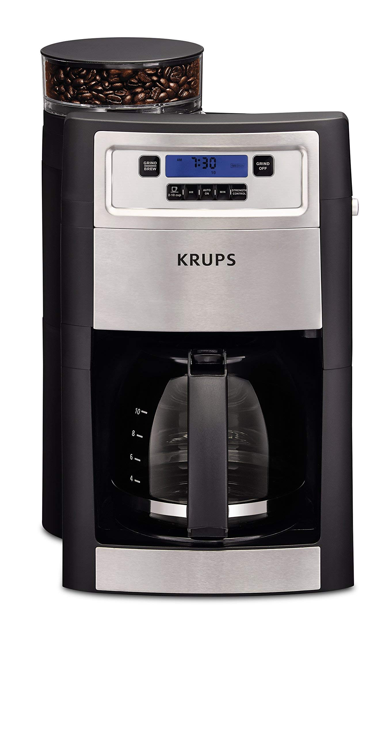 KRUPS Grind and Brew Auto-start Coffee Maker with Builtin Burr Coffee Grinder, 10 Cups, Black (Renewed) by KRUPS