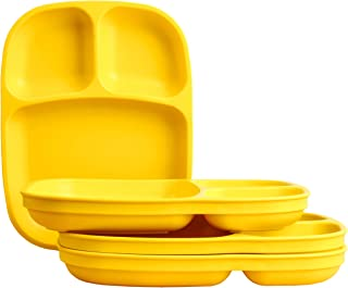 "product image for Re-Play Recycled Products, Set of 4 (10"" Divided Tray, Yellow)"
