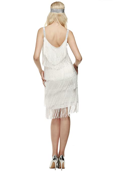 cc39b52f115 Nessere Flapper Fringe Dresses 1920s Evening Dresses for Women Cocktai Dress  Plus Size Dresses  Amazon.co.uk  Clothing