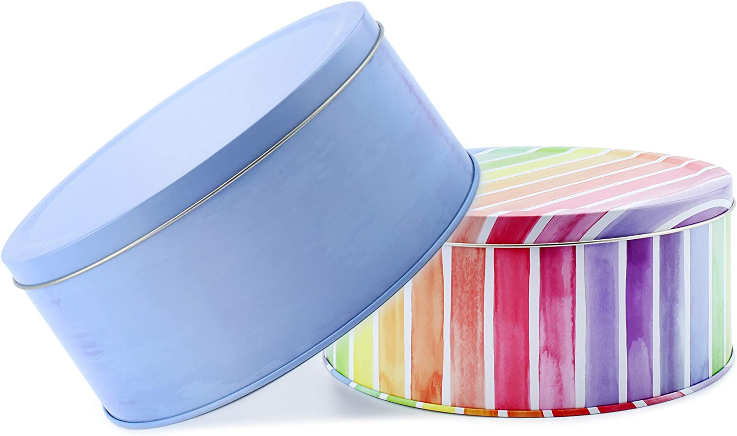 Cornucopia Cookie Tins (Set of 2, Blue and Rainbow); Round Baking and Cake Tins for Easter, Special Occasion and Holidays, 7.75-Inch Wide by 3.6-Inch Tall