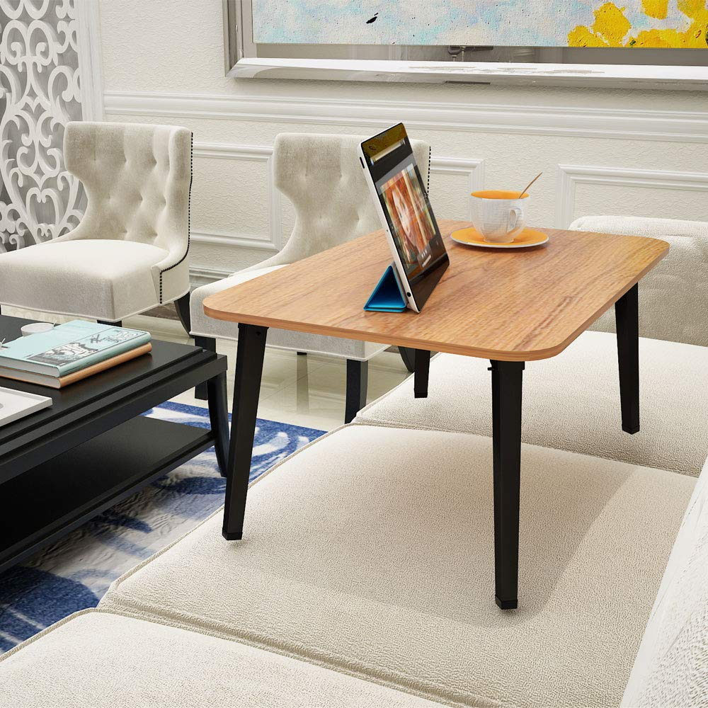 """Homebi Laptop Desk Portable Notebook Stand Table for Bed and Couch Breakfast Serving Tray with MDF Top Board and Foldable Metal Legs in Walnut,23.7/""""W x 15.83/"""" D x 11.3/""""H"""
