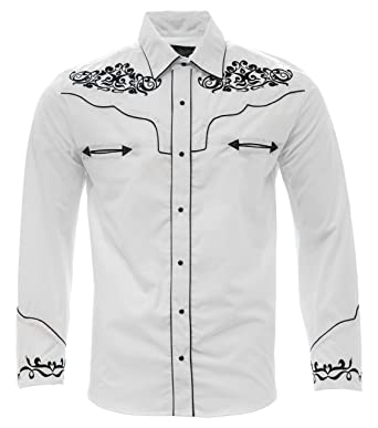 a2fa772c10 El General Men s Charro Shirt Camisa Vaquera Western Wear White Black  (Small)