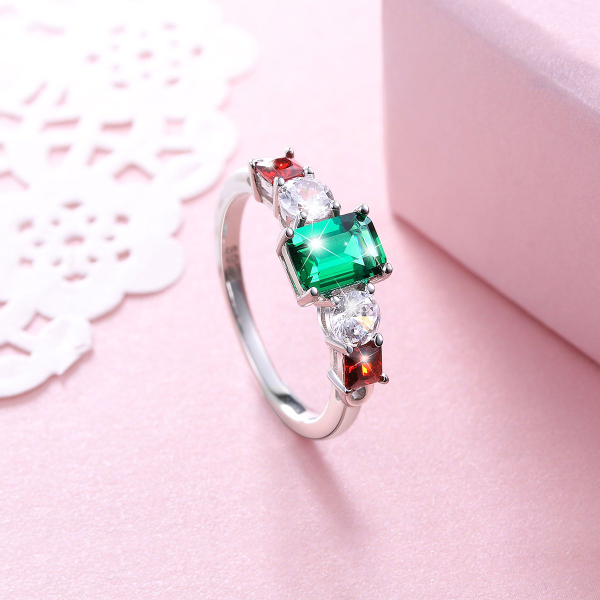 Vintage Elegant Jewelry 925 Sterling Silver Green and Red Cz Ring for Mom Size 9 by SILVER MOUNTAIN (Image #3)