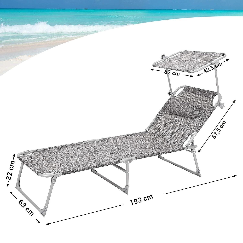 SONGMICS Tumbona Reclinable, Silla para Playa, Ajustable, 193 x 63 x 32 cm, Carga de 250 kg GCB19T