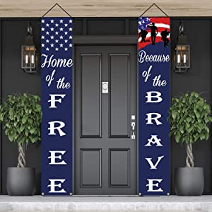 American Flag Patriotic Soldier Porch Sign Banners,Patriotic Decoration for Memorial Day-4th of July Decor Hanging,Independence Day Veterans Day Labor Day Hanging Banner for Yard Indoor Outdoor