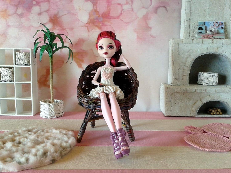 Wicker Chair Dollhouse Outdoor Furniture for BJD doll. Handmade Miniature Furniture