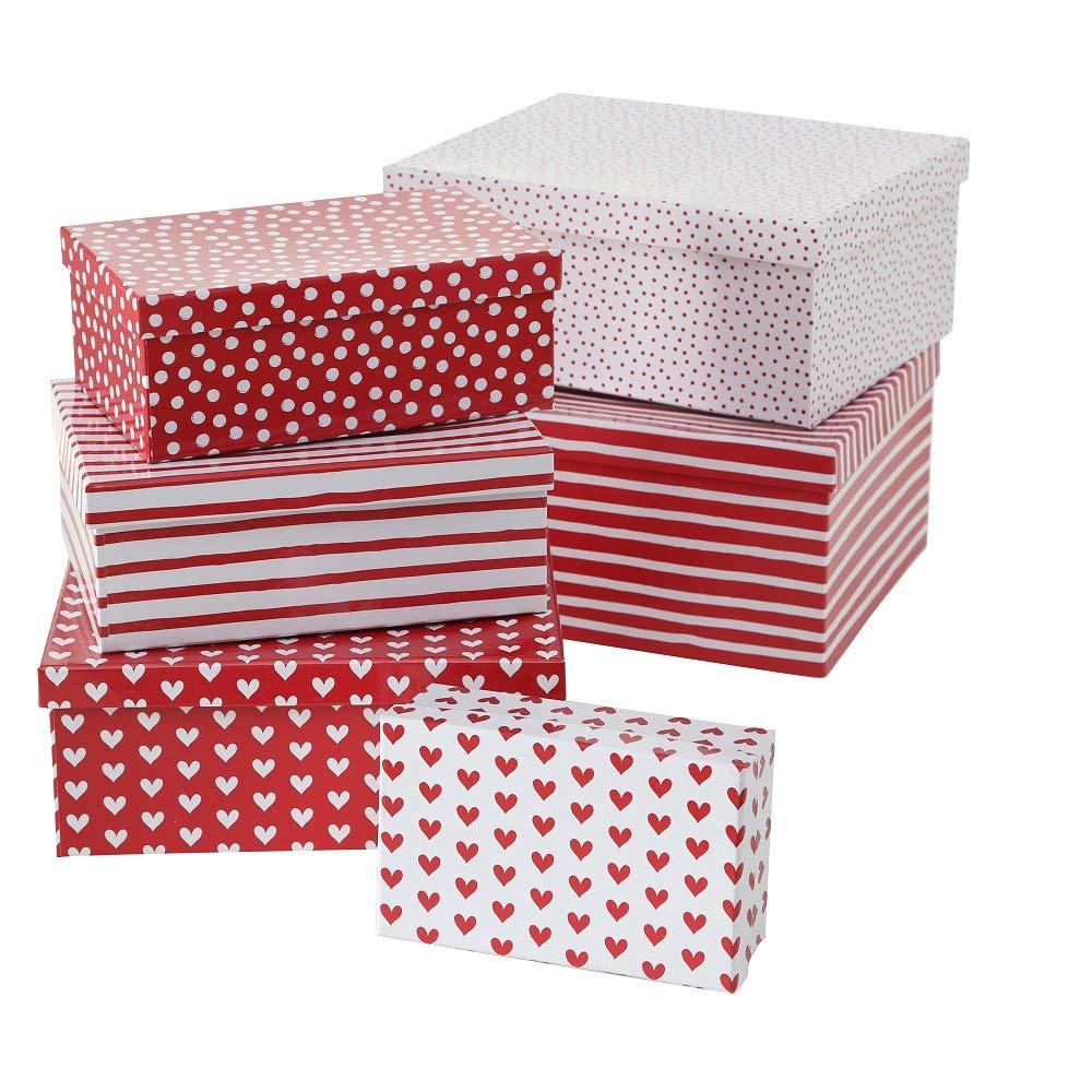 Paper Collection Muebles Hogar Accesorios DDecorativos Organizaci/ón Contenedores Juego de 6 Cubos en Cart/ón de Almacenaje con Tapa Blanco y Rojo Puntos L/íneas Corazones Varios Tama/ños