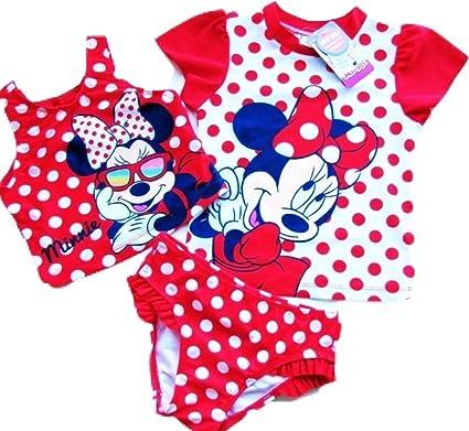 9f7b93e143ddb Disney Junior Minnie Mouse 3 Piece Swim Set (Top, Tankini & Briefs) UPF50+