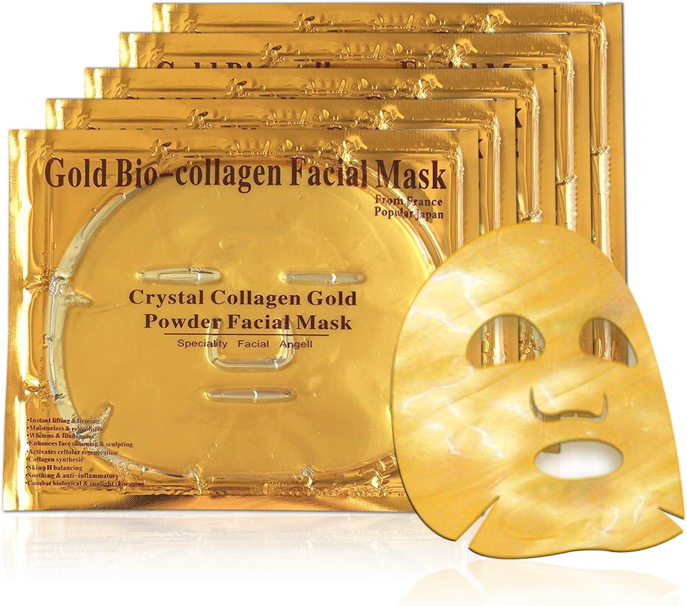 Mascarilla hidratante facial de oro 24k y colageno para tratamiento facial antiarrugas, antienvejecimiento - 5 piezas: Amazon.es: Belleza