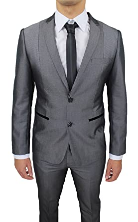 Abito Completo uomo Sartoriale Grigio Lucido Slim Fit aderente elegante  cerimonia (46)  Amazon.it  Abbigliamento c914fe11087