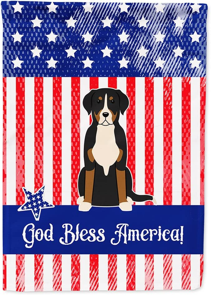 Caroline's Treasures BB3032GF Patriotic USA Greater Swiss Mountain Dog Flag Garden Size, Small, Multicolor