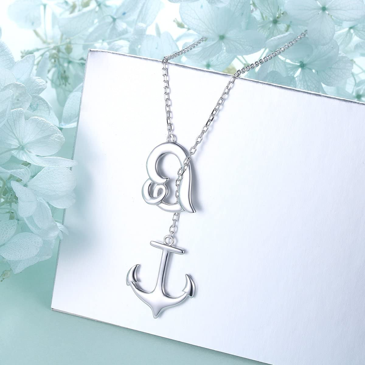 DAOSHANG Anchor Jewelry S925 Sterling Silver Anchor and Rope Nautical Necklace Adjustble Anchor Bracelet Cute Rudder Anchor Earrings Ship Anchor Anklets Cross Long Y Necklace Women Jewelry Sets