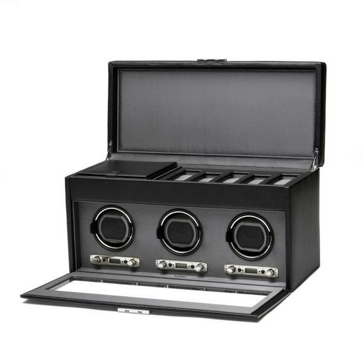 Men's Faux Leather Triple Watch Winder w/ Glass Cover, Lock, 6 Timepiece Storage Box and Travel Case