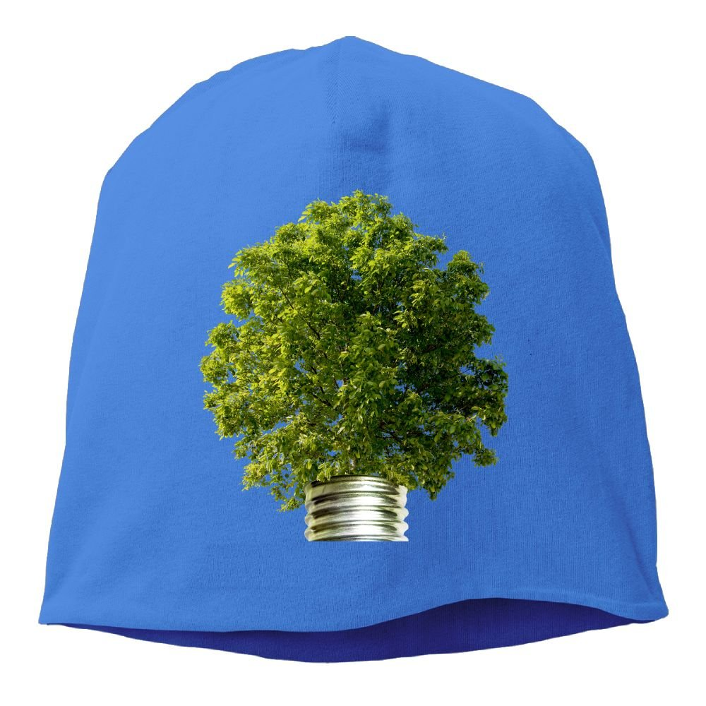 Fashion Solid Color Creative Tree Light Bulb Beanie Cap for Unisex Black One Size